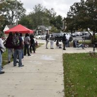 Prince George's County residents line up outside Langley Park Community Center on Oct. 9 to apply for funding to pay for rent and possibly utilities. (Robert R. Roberts/ The Washington Informer)